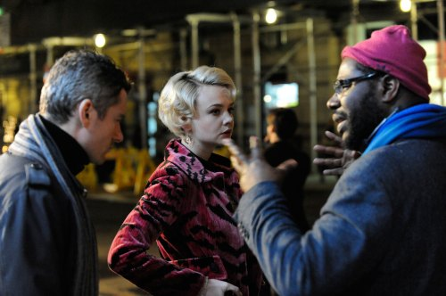 Steve McQueen (right) directs James Badge Dale and Carey Mulligan in Shame