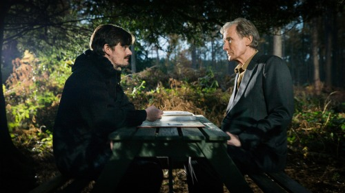 Sam Riley (left) and Bill Nighy (right) star in Sometimes Always Never